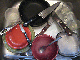 kitchen knives in sink