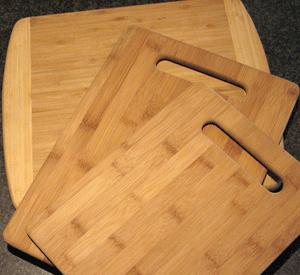 three bamboo cutting boards