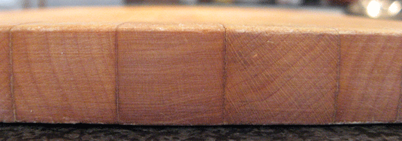 edge-grain cutting board close-up