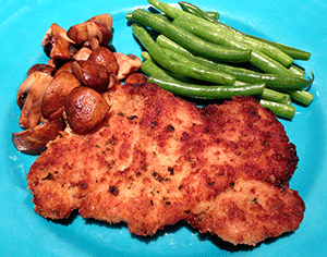 breaded chicken cutlets plated