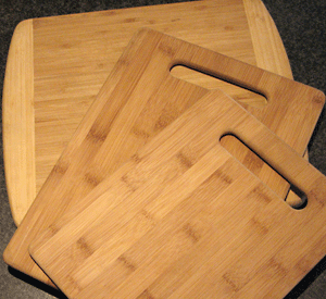 three bamboo cutting boards