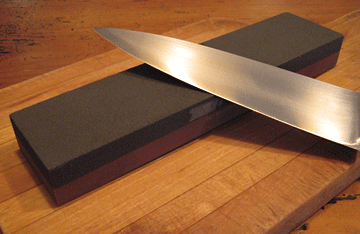 sharpening stone and knife blade