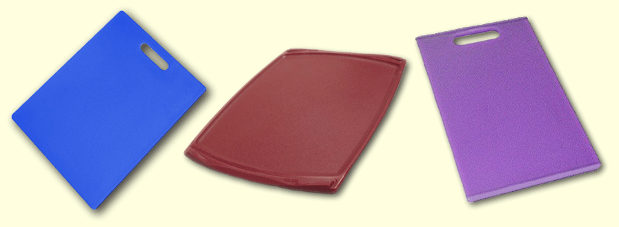 plastic cutting boards from Dexas and Oneida_blue-red-prple